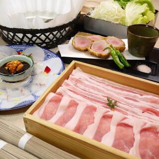霧島山麓豚と生うに醤油で食す鯛のしゃぶしゃぶ
