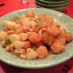 龍口酒家 - 海老団子とクワイ、カシューナッツ、蚕豆炒め