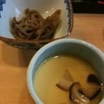 12574697 - 茶碗蒸しと小鉢(ハスの煮物)