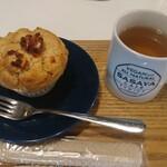 ササヤカフェ - ゆずと白あんのマフィンセット、薬効茶(ホット)