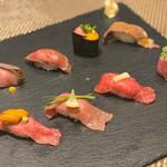 北新地 宙空 そらそら - 黒毛和牛の肉寿司8種盛り