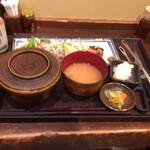 炭火焼専門食処 白銀屋 - 豚バラネギ塩焼き定食  850円