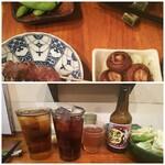 125859986 - ◆枝豆・小鉢(しいたけ・レタス)◆♪                       ◆ウーロン茶・コーラ・今池ビール・キャベツ◆♪