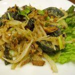 スィゥミャンマー - 「ピータンの和え物」700円は、プリプリのピータンに粘性高めな旨味に満ちたタレ、シャキシャキ生野菜が馴染んでお酒が進みます!
