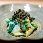 竹ざき - 紋甲烏賊と分葱、 とんぶり
