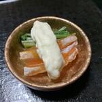 山ばな平八茶屋 - 干し柿と壬生菜のお浸しの白酢和え