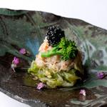鉄板焼き いわ倉 - 料理写真:ズワイガニとレタスの蟹酢和え