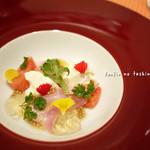 12602997 - 金目鯛とモッツァレラチーズのカルパッチョ仕立て