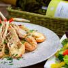 バグースバー 芝浦アイランド - 料理写真:彩り旬の10種野菜と手長エビ(スカンピ)のスパゲッティ