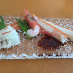 西村屋ホテル招月庭 レストランRicca - ・お造り(松葉蟹 平目 甘海老)