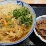 126074657 - かけうどん+野菜の天ぷら+肉