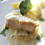126101360 - 本日の鮮魚(鯛です!青のりのクリームソース)