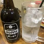 立ち酔い 超人 - 「ホッピーセット」350円也。おかわりナカ焼酎は100円也。