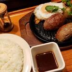 いしがまやハンバーグ - プレミアムハンバーグステーキ レギュラーセット 1380円 トッピング 目玉焼き 150円