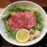松阪牛麺 - 松阪牛麺肉盛り(出汁をかける前)