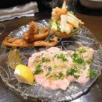 エゾットリア - 前菜②(カスベのいろいろ マリネ、フリット、レバ刺し)