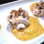 エゾットリア - 前菜⑥(根室産 鱈白子の炙り 長万部のウォッシュチーズソース)