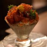 米と魚 酒造 米家ル - パフェみたいな生本マグロ丼