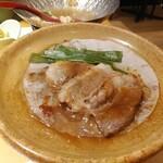 京都・烟河 - 九条葱と鴨の陶板焼出来上がり