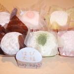 ハピハピ - 料理写真:hapihapiお勧めのはぴ大福です。フワフワで甘さ控えめで美味しいですよ。
