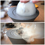 オ・ボルドー・フクオカ - サーモンリエットの瞬間スモーク・・テーブルで蓋を取られると、スモークのいい香りが。