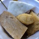 大国屋 - 料理写真:すじ、イカ天、ゲソ天、はんぺん   これで350円!そしてべらぼうに美味い♪柴又の文化遺産です!
