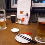 居酒屋田々 - 乾杯の生ビール(アサヒスーパードライ)500円