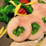 鶏肉と菜花のインボルティーニ