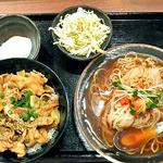 どんぶりブッチャー - 「ぶたみそ丼(大盛り)& 冷麺 セット」&「おんたま」(2012年4月)