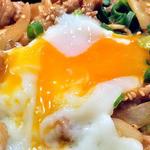 どんぶりブッチャー - 「ぶたみそ丼(大盛り)& 冷麺 セット」のぶたみそ丼(大盛り;「おんたま」をのせて)(2012年4月)