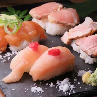朝引き地鶏の肉寿司◎地鶏と酢飯のハーモニー♪