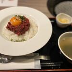 126388393 - ユッケ丼とスープ