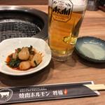 将福 - 生ビールとラッキョのキムチ