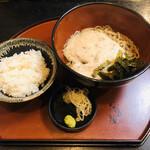 栄茶屋 - 自然薯そば 温(1,380円)+麦飯・小(100円)