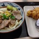 丸亀製麺 - 料理写真:鴨ねぎうどん、天ぷら(かしわ)、鮭おにぎり