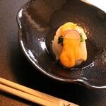きむら - 料理写真:前菜はホタテと寒中タケノコの黄身酢あん