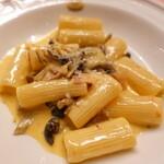 ピッツェリア・サバティーニ - キノコとパンチェッタのサフランクリームソースリガトーニ