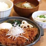 満天食堂 - 【期間限定】鶏の味噌かつ煮卵添え定食