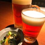 土風炉 - 緋富士地ビール(ジョッキとグラス) 693円と506円