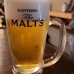 大衆酒場 中村商店 - やはりビールが390円だった模様。何かの画面を見せなきゃいけなかったような。