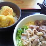 12661834 - 天丼(ミニ)/但馬肉ぶっかけ