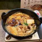 Kurashikishubougen - 鶏すき焼。そろそろ食べ頃。