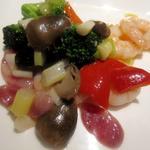 花梨 - 芝海老と季節野菜の炒め 広東風腸詰め