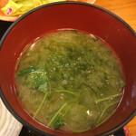 和料理 八車 - アオサとミツバの味噌汁