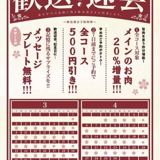 ◆歓送迎会三大特典◆