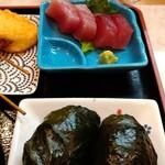 126674104 - 二代目定食のマグロ刺身とめはり寿司