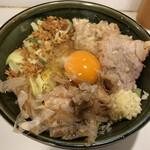 126677797 - 小ラーメン・汁無し(ニンニク、アブラ)+生卵