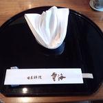 日本料理雲海 - コース・一品にかかわらず、デザートまではこのお盆の上で戴きます。