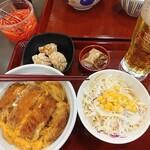 なか卯 - カツ丼(並) サラダ(ゴマドレ) 唐揚げ(3個) キリン一番搾り