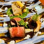 126832259 - 八寸:イチボ肉・蒸し鮑・飯蛸・白アスパラガス
